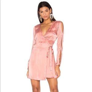 LPA Revolve Satin Wrap Dress Sz M